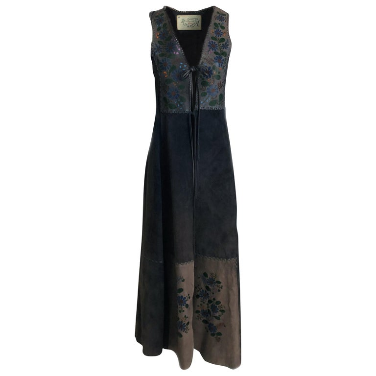 Vintage Char Long Suede Festival Vest or Dress Hand Painted Floral Inserts S For Sale