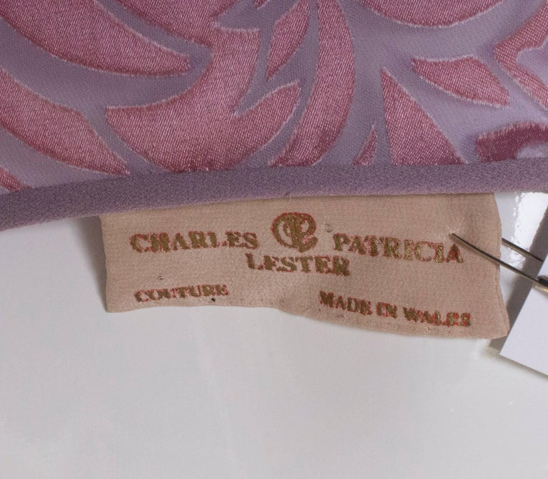 Vintage Charles and Patricia Lester Couture Lilac Devorre Velvet Tunic /Dress For Sale 4