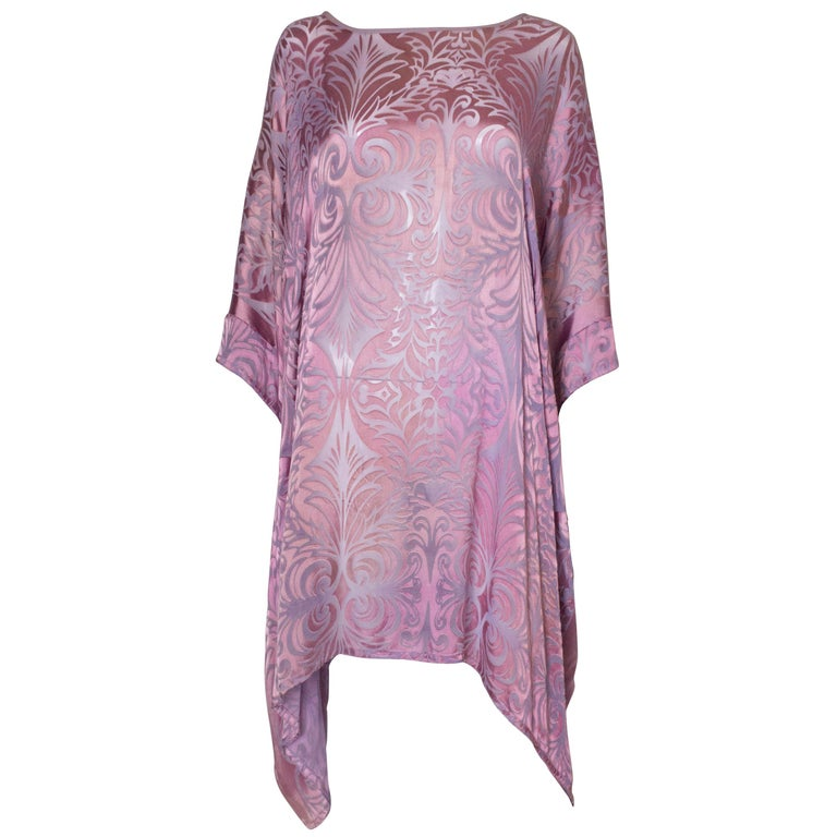 Vintage Charles and Patricia Lester Couture Lilac Devorre Velvet Tunic /Dress For Sale