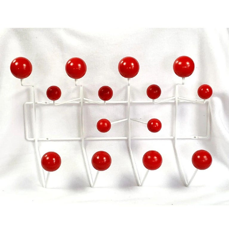 Mid-Century Modern Vintage Charles and Ray Eames Cherry Red Hang-it-All Wall Rack, Herman Miller For Sale