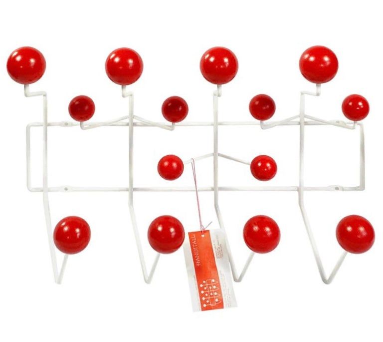 Vintage Charles and Ray Eames Cherry Red Hang-it-All Wall Rack, Herman Miller For Sale
