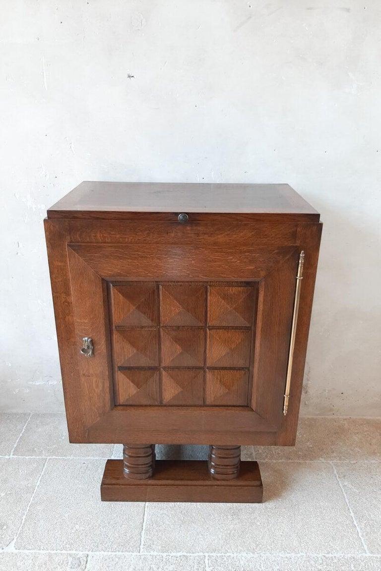 French Vintage Charles Dudouyt Brutalist Brown Oak Wall Cabinet For Sale