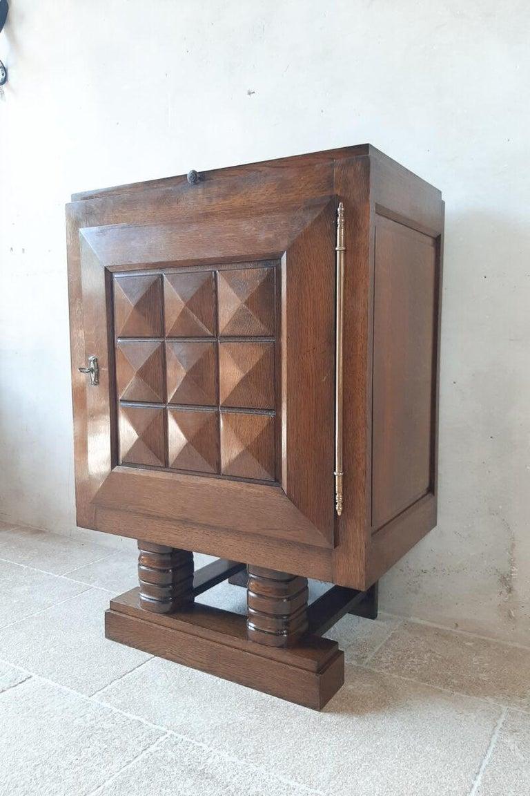 Vintage Charles Dudouyt Brutalist Brown Oak Wall Cabinet For Sale 1