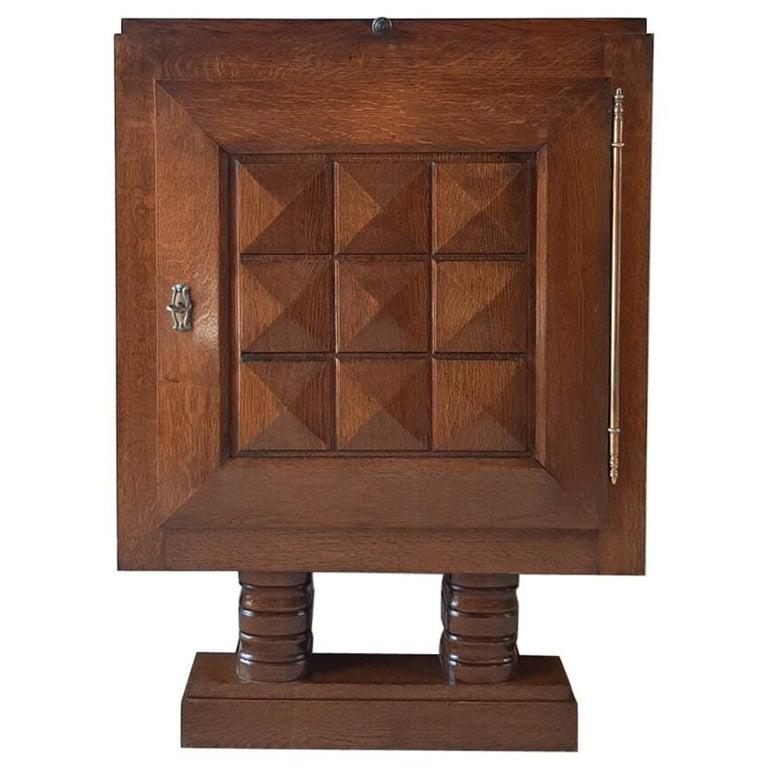 Vintage Charles Dudouyt Brutalist Brown Oak Wall Cabinet For Sale