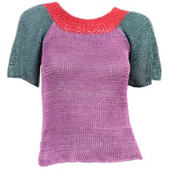 Vintage Charles Jourdan Parallele Color Block Purple 2 pc Top & Cardigan Sweater