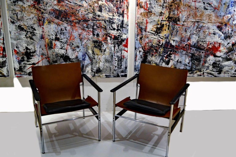 Hand-Carved Vintage Charles Pollock Leather, Steel and Chrome Chairs for Knoll, circa 1960s For Sale