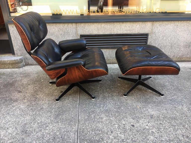 Vintage Charles & Ray Eames Rosewood Lounge Chair & Ottoman For Sale 3
