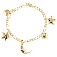 Vintage Charm Bracelet Crescent Moon Star Heart 14 Karat Gold Estate Jewelry
