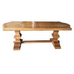 Vintage Charming French Oak Parquet Farm Table