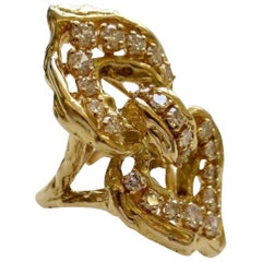 Vintage Chaumet Paris Diamond and Gold, 1970s Ring