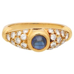 Vintage Chaumet Paris Sapphire and Diamond Ring Set in 18k Yellow Gold