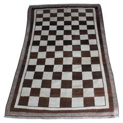 Vintage Checkered Gabbeh Rug, Persia, 1960s