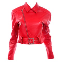 Vintage Cherry Red Leather Motorcycle Jacket Michael Hoban North Beach Leather