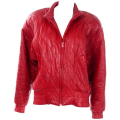 Vintage Cherry Red Quilted Leather Vakko Zip Front Jacket