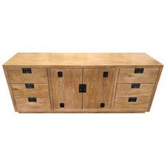 Vintage Cherused Campaign Style Oak Henredon Credenza or Dresser
