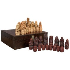 Vintage Chess Set English, Stone Resin, Gaming, Pieces, Gothic Taste, circa 1990