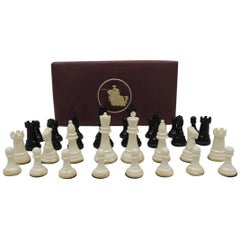 Vintage Chess Set Pieces in Vegan Leather Box