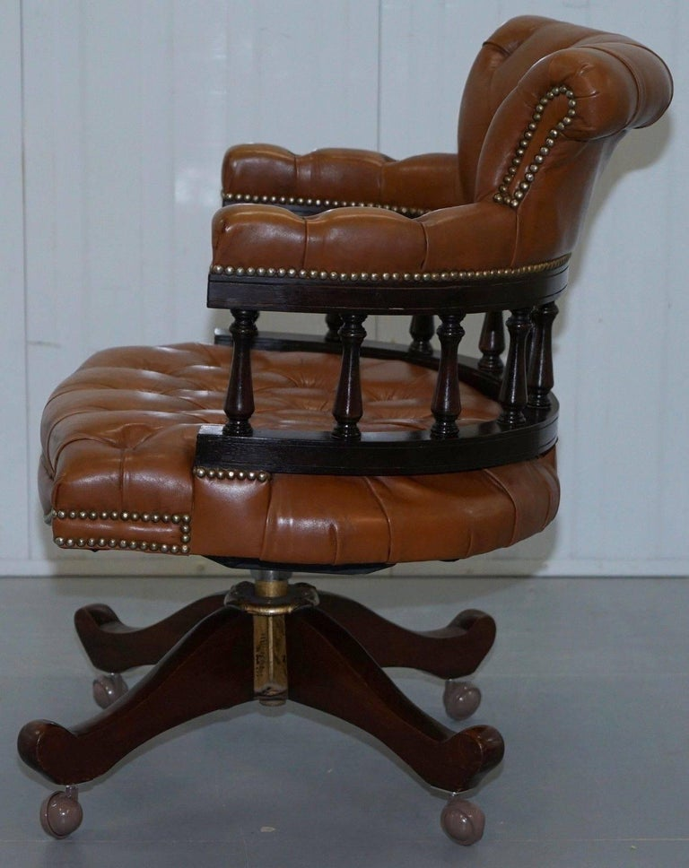 Vintage Chesterfield Aged Brown Leather Captains Directors