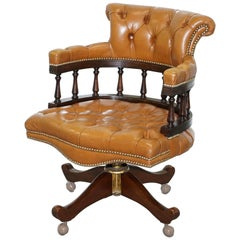 Vintage Chesterfield Aged Brown Leather Captains Directors Office Swivel Chair