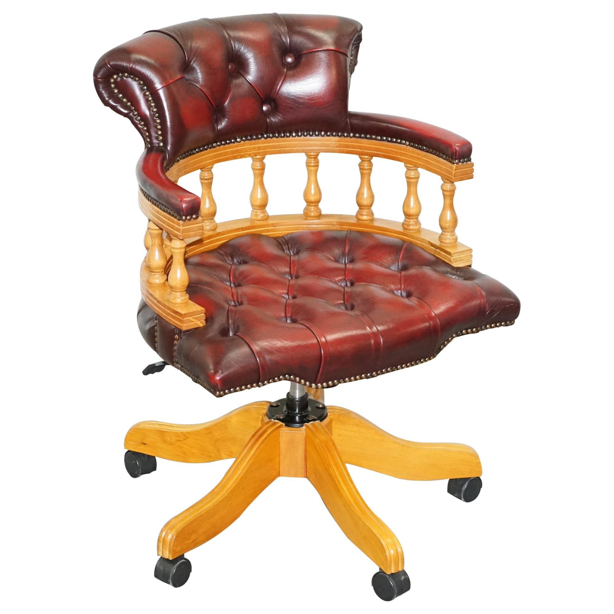 Vintage Chesterfield Fully Buttoned Oxblood Leather Captains Directors Chair