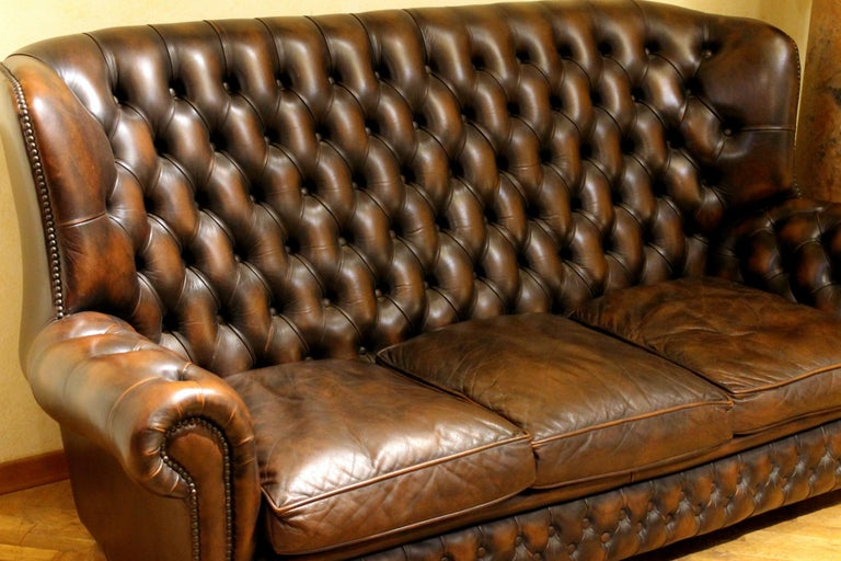 Vintage Chesterfield Sofa Brown Leather High Back Three Seats and Button Tufted For Sale 5