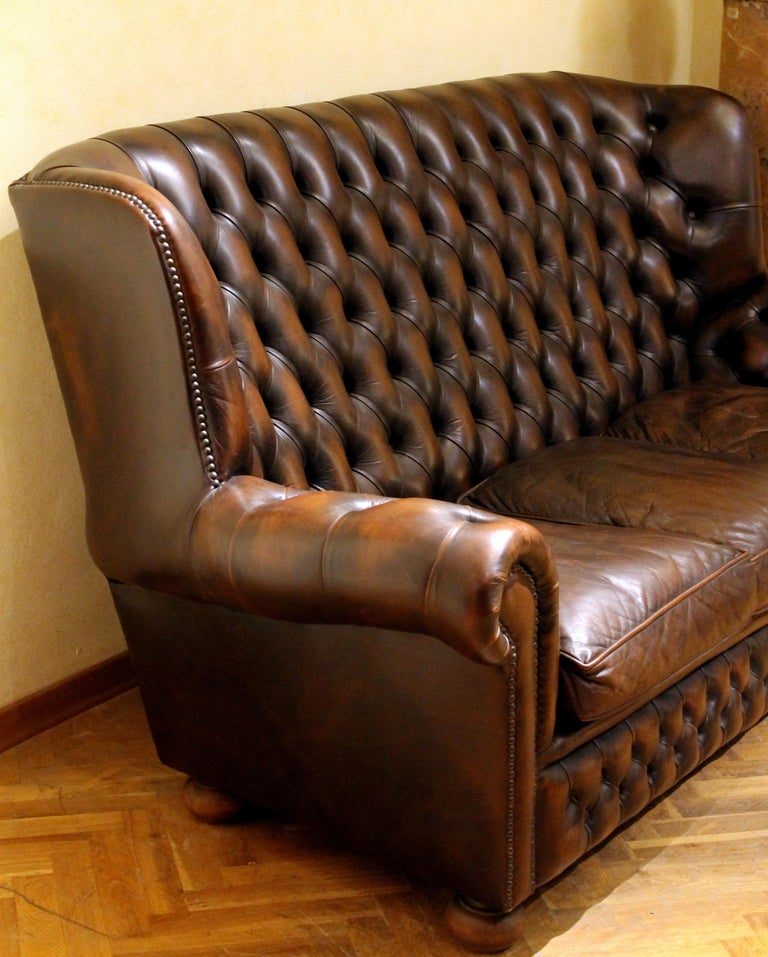 Vintage Chesterfield Sofa Brown Leather High Back Three Seats and Button Tufted For Sale 6