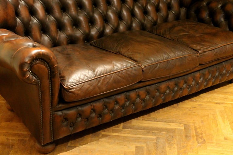 Vintage Chesterfield Sofa Brown Leather High Back Three Seats and Button Tufted For Sale 7