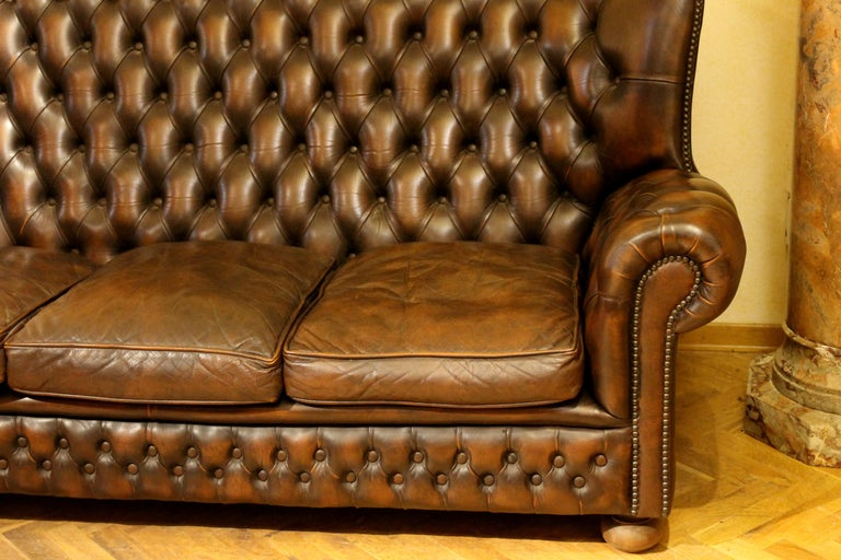 Vintage Chesterfield Sofa Brown Leather High Back Three Seats and Button Tufted For Sale 8