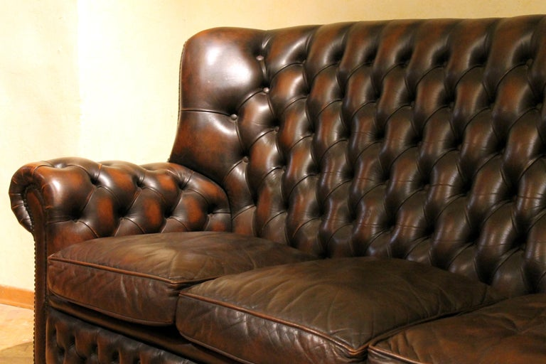 Vintage Chesterfield Sofa Brown Leather High Back Three Seats and Button Tufted For Sale 9