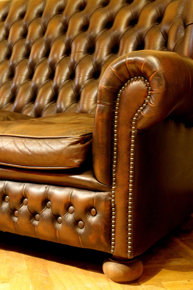 Vintage Chesterfield Sofa Brown Leather High Back Three Seats and Button Tufted For Sale 10