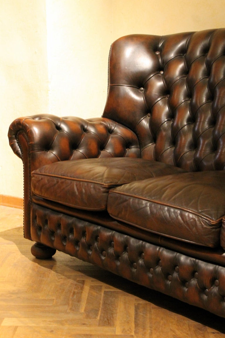Vintage Chesterfield Sofa Brown Leather High Back Three Seats and Button Tufted For Sale 11