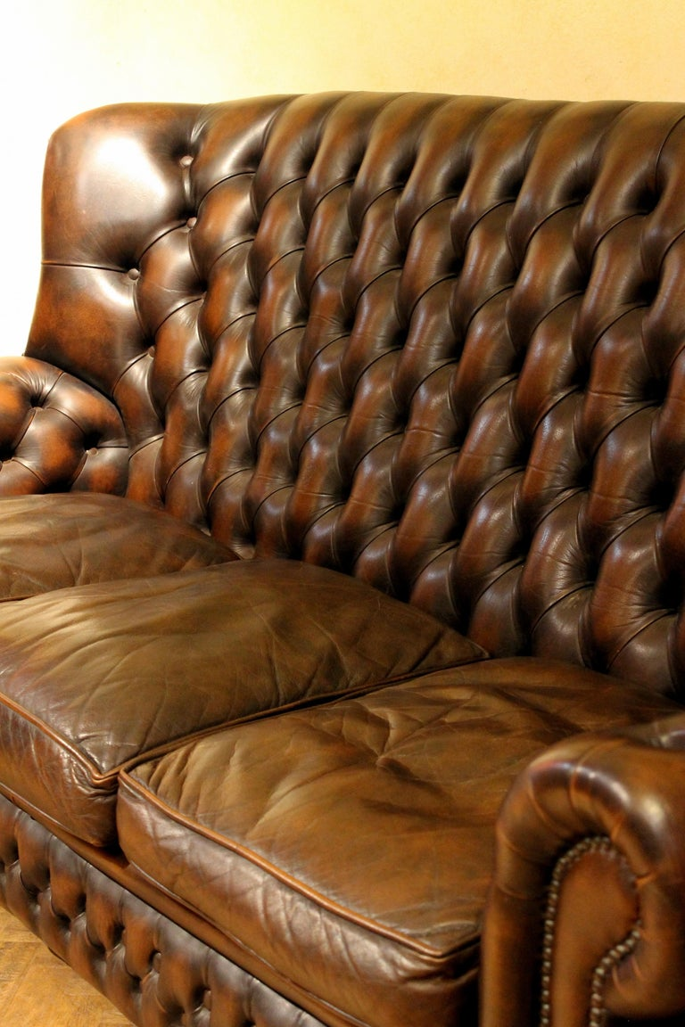Vintage Chesterfield Sofa Brown Leather High Back Three Seats and Button Tufted For Sale 12