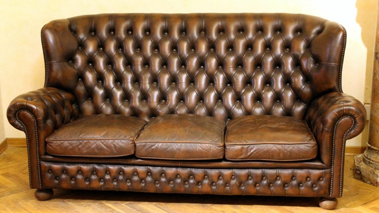 English Vintage Chesterfield Sofa Brown Leather High Back Three Seats and Button Tufted For Sale