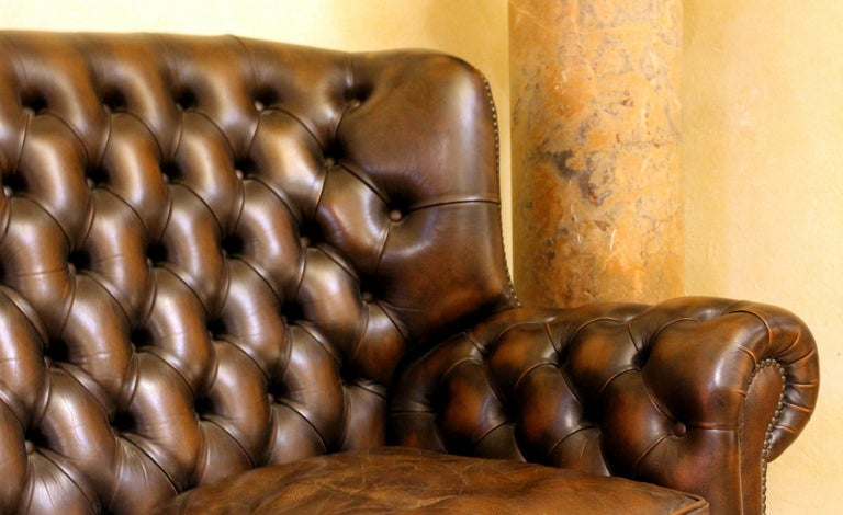 20th Century Vintage Chesterfield Sofa Brown Leather High Back Three Seats and Button Tufted For Sale