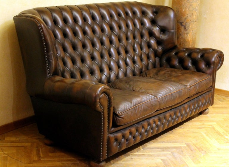 Vintage Chesterfield Sofa Brown Leather High Back Three Seats and Button Tufted For Sale 2