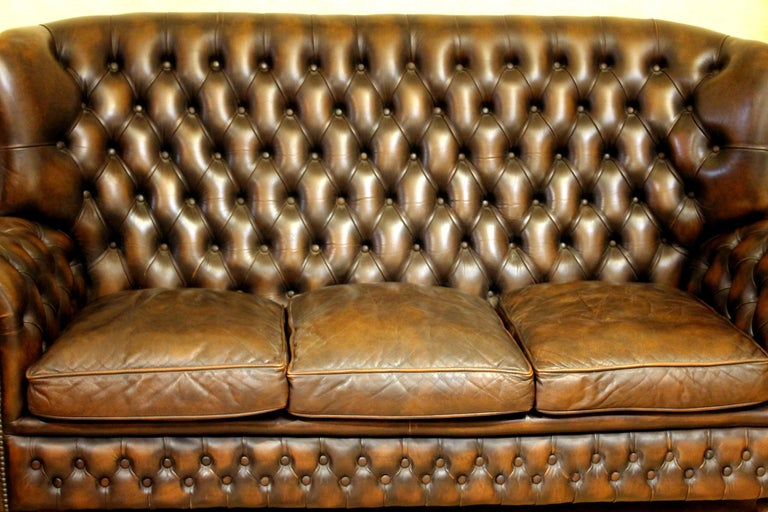 Vintage Chesterfield Sofa Brown Leather High Back Three Seats and Button Tufted For Sale 3