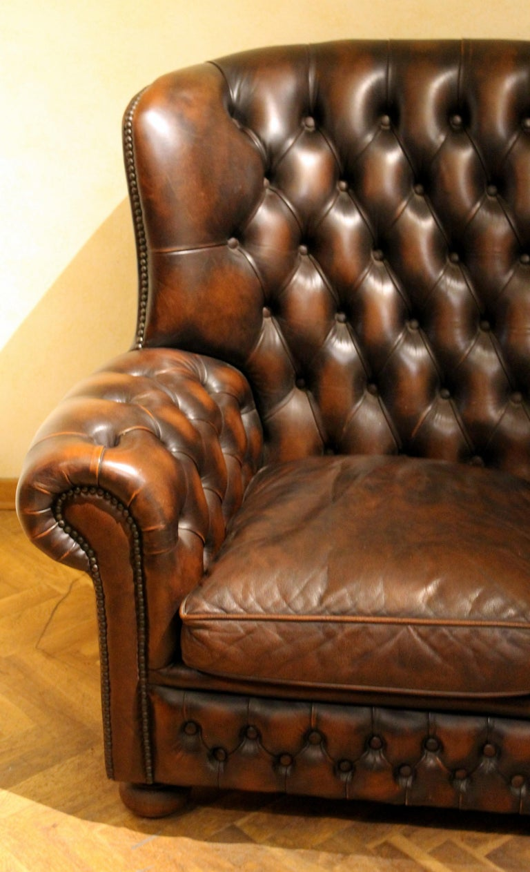 Vintage Chesterfield Sofa Brown Leather High Back Three Seats and Button Tufted For Sale 4