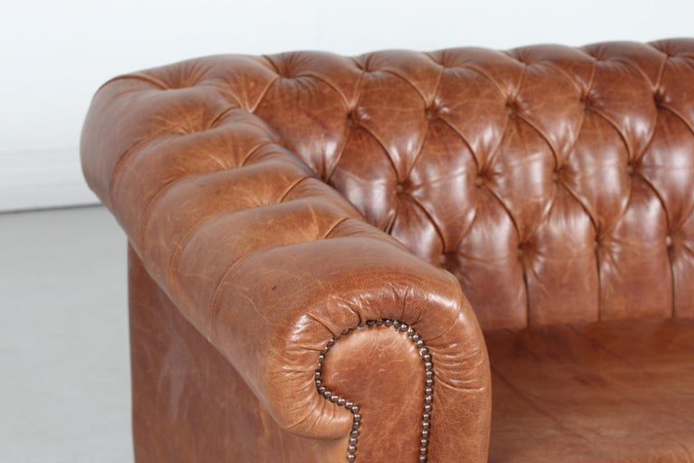 English Vintage Chesterfield Sofa Cognac Leather Mounted with Numerous Buttons, 1970s