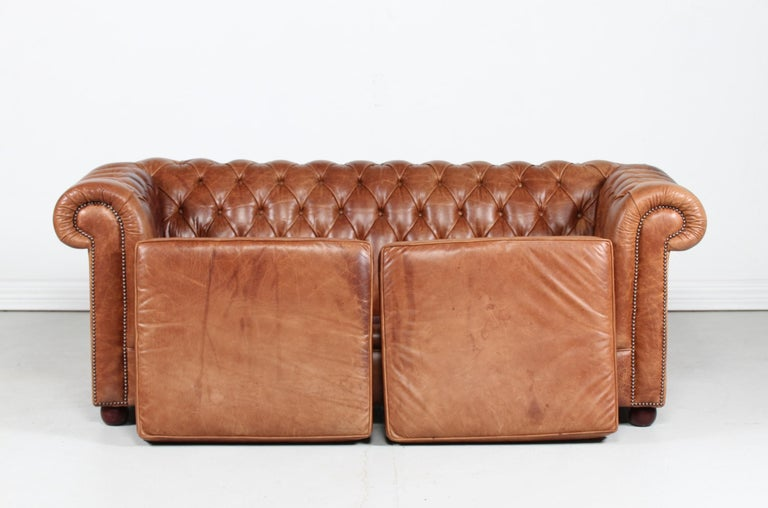 Vintage Chesterfield Sofa Cognac Leather Mounted with Numerous Buttons, 1970s In Good Condition In Aarhus C, DK