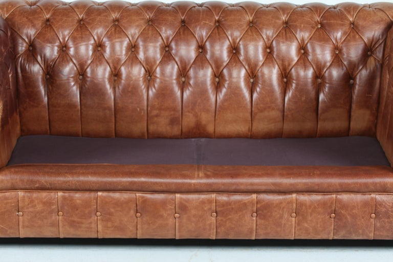 Late 20th Century Vintage Chesterfield Sofa Cognac Leather Mounted with Numerous Buttons, 1970s