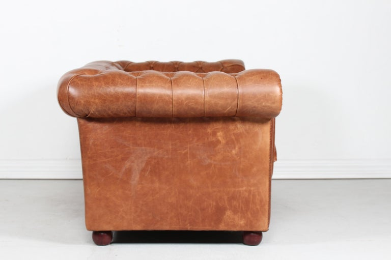 Vintage Chesterfield Sofa Cognac Leather Mounted with Numerous Buttons, 1970s 1