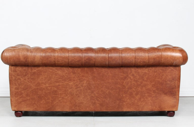 Vintage Chesterfield Sofa Cognac Leather Mounted with Numerous Buttons, 1970s 2