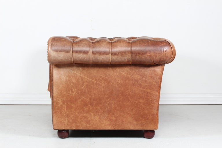 Vintage Chesterfield Sofa Cognac Leather Mounted with Numerous Buttons, 1970s 3
