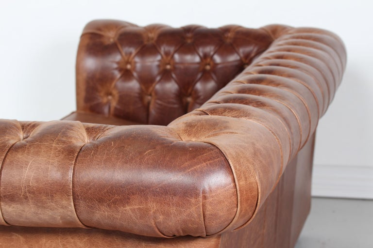 Vintage Chesterfield Sofa Cognac Leather Mounted with Numerous Buttons, 1970s 4