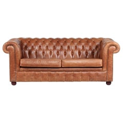 Vintage Chesterfield Sofa Cognac Leather Mounted with Numerous Buttons, 1970s