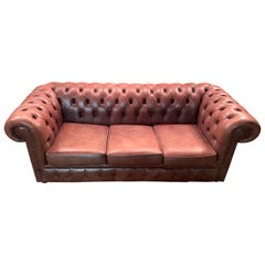 Vintage Chesterfield Sofa Cognac Leather Mounted with Numerous Buttons