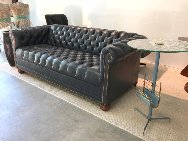 Vintage Chesterfield Sofa in Slate Blue Leather For Sale 4