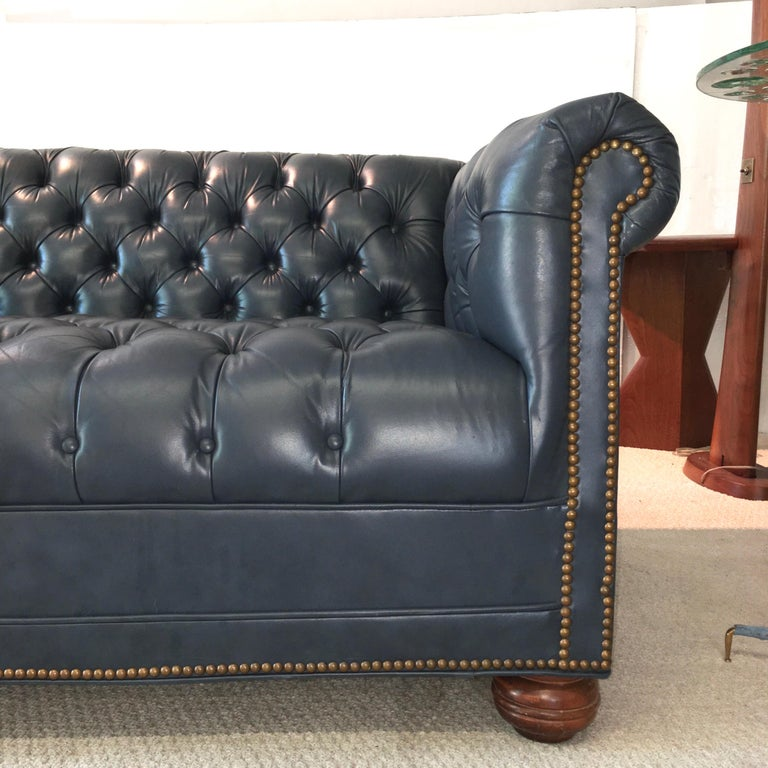 Vintage Chesterfield Sofa in Slate Blue Leather For Sale 9
