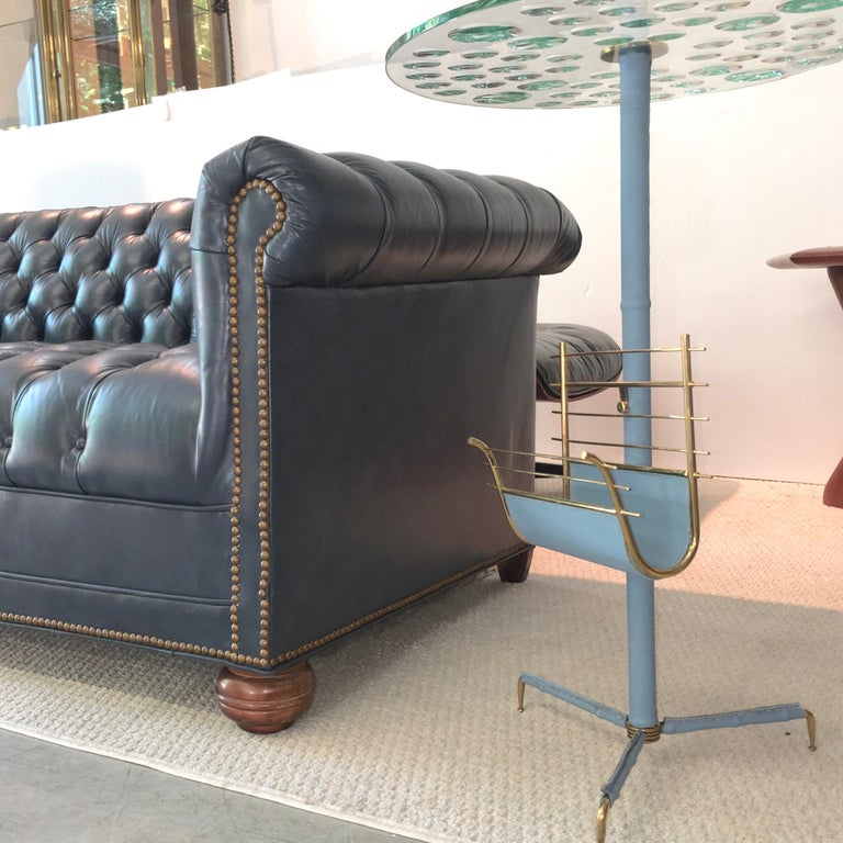 Vintage Chesterfield Sofa in Slate Blue Leather For Sale 10