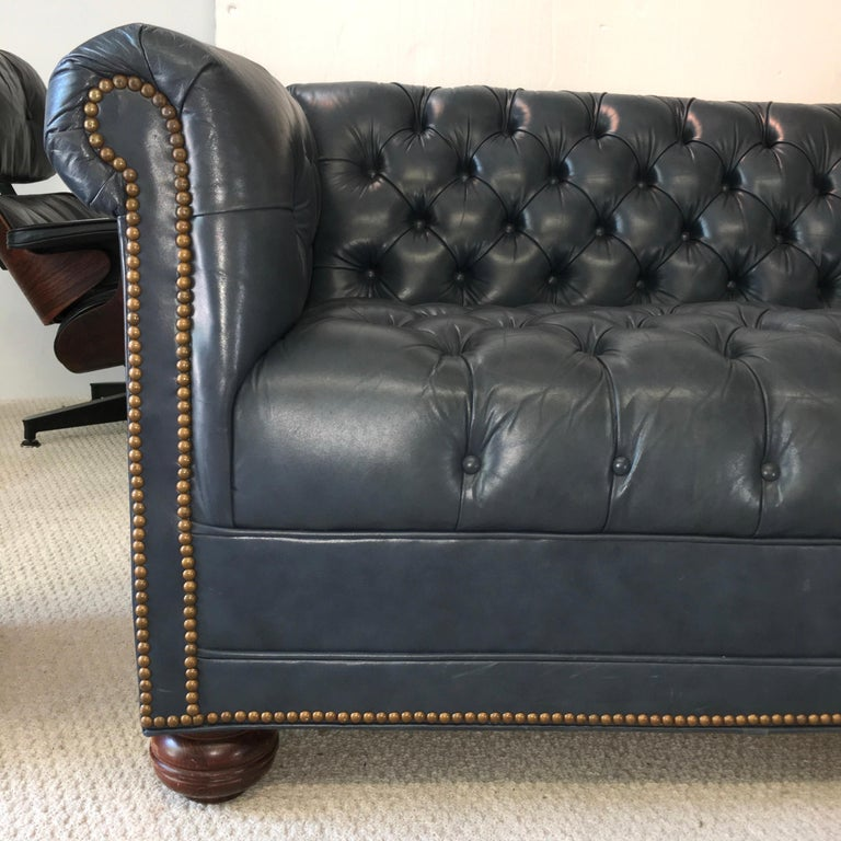 Vintage Chesterfield Sofa in Slate Blue Leather For Sale 11